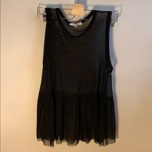 Truly Madly Deeply sheer ruffle tank top